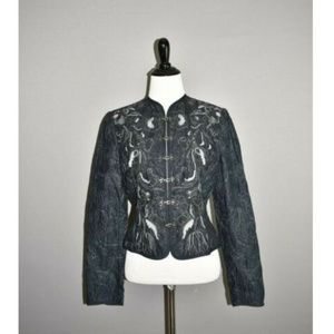 TAHARI Navy Embroidered Cropped Fitted Jacket